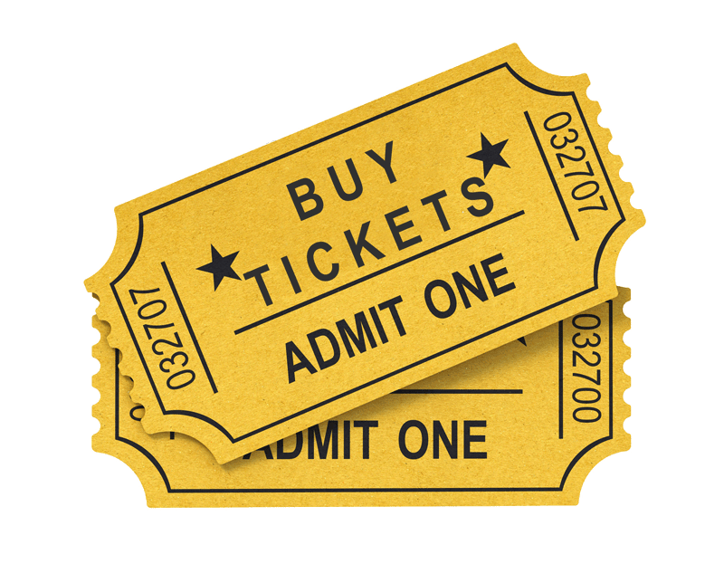 "This is a link to purchase tickets to Purgatory Scream Park in Houston Texas. It shows a set of two golden colored tickets. The front of the top ticket says ""Buy Tickets, Admit One."""